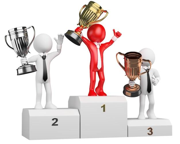 3 dビジネスマン白人。表彰台の勝者