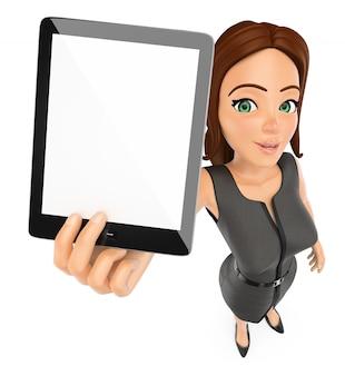 空白のタブレットを持つ3 dビジネス女性