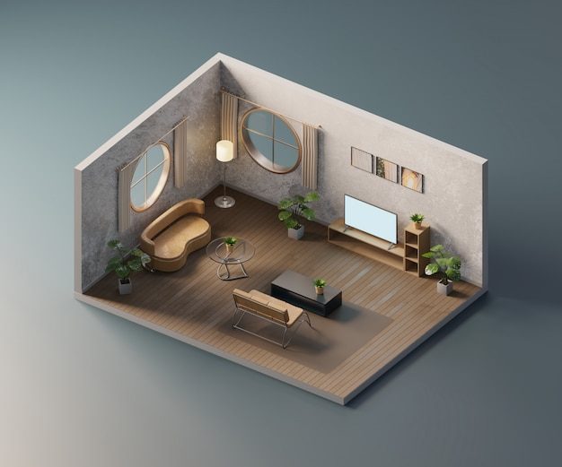 等尺性のリビングルームは、インテリア建築、3 dレンダリング内で開きます。