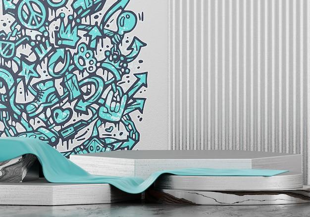 抽象的な落書きステージプラットフォーム、製品広告、3 dレンダリング用のテンプレート。