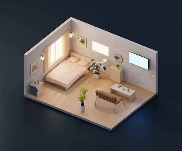 等角投影ビューベッドルームインテリア建築、3 dレンダリング内で開きます。