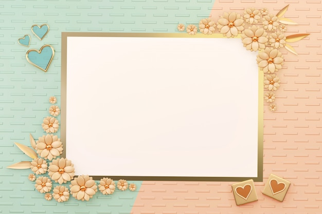花と心の装飾、3 dのレンダリングとパステルオブジェクトフラットレイアウト愛カード枠。