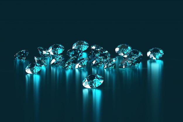青い丸いダイヤモンドのグループ宝石は反射背景の3 dレンダリングに配置されます。