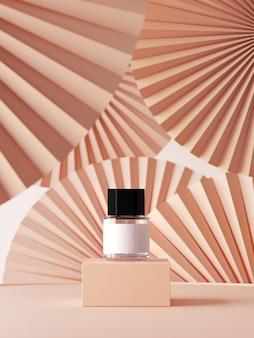 ブランディング、アイデンティティ、パッケージングのプレゼンテーションの要約。ヌードカラーペーパーファンメダリオンの表彰台に香水。 3 dレンダリング図。