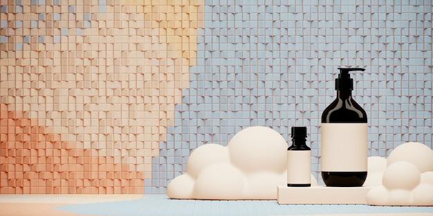 ブランディングとパッケージングのプレゼンテーションの要約。表彰台とランダムなモザイクタイル上の雲の化粧品ボトル。 3 dレンダリング図。