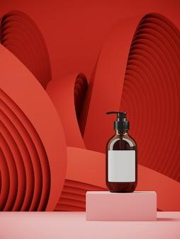 製品プレゼンテーション用の化粧品。赤い円形の幾何学模様のピンクの表彰台。 3 dレンダリング図。