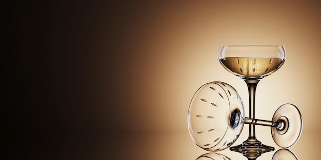 ゴールドの背景に白ワイングラス。 3 dレンダリングのイラスト。