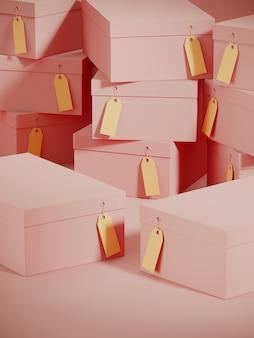 ピンク色のショッピングボックスの表彰台と段ボールのギフトボックスの背景のスタック。 3 dレンダリングのイラスト。