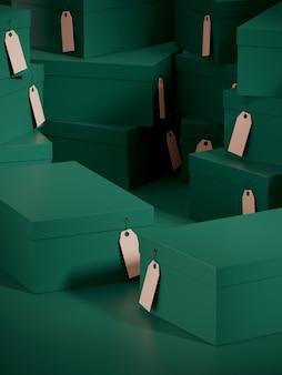 緑の色のショッピングボックスの表彰台と段ボールのギフトボックスの背景のスタック。 3 dレンダリングのイラスト。