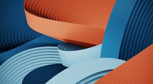 製品プレゼンテーションの最小限の要約。青と赤の円形ジオメトリ形状。 3 dレンダリング図。