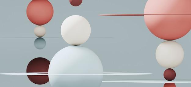 ブランディングと最小限のプレゼンテーションの抽象的な背景。赤と青の色の球と青の背景に円形の平面。 3 dレンダリング図。