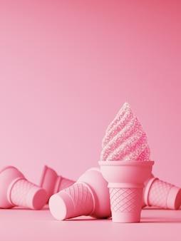 幸福のための甘いピンク。ピンクゼリーアイスクリームコーンとピンクの砂糖の結晶。 3 dレンダリング図。