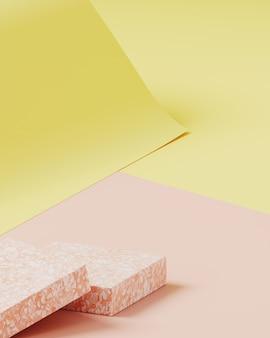 製品プレゼンテーションの最小限の背景。ピンクのテラゾー表彰台、黄色とピンク色の紙ロールの背景に化粧品ボトル。 3 dレンダリング図。