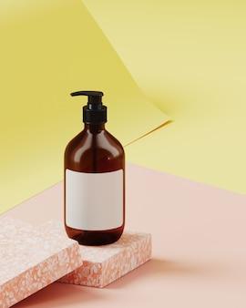 ブランディングと製品プレゼンテーションの最小限の背景。ピンクのテラゾー表彰台、黄色とピンク色の紙ロールの背景に化粧品ボトル。 3 dレンダリング図。