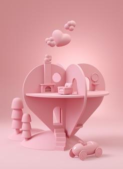 愛の家。ピンクにピンクのハート形の家。 3 dイラストのレンダリング。