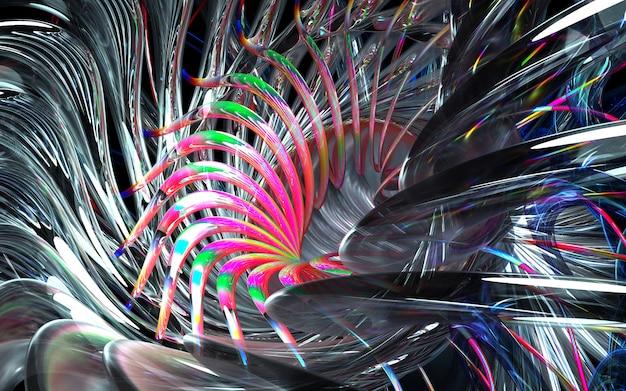 アートの3 dレンダリング抽象的なタービンエンジンの一部または曲線の鋭い刃を持つ万華鏡のような花の一部と白い光沢のあるセラミック、ガラス、赤のマルチカラーの金属材料の波状バイオフォーム