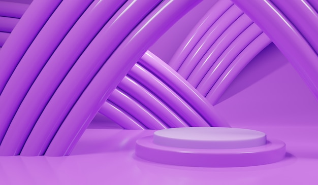紫色の表彰台とパイプの3 dの抽象的な紫色のシーン