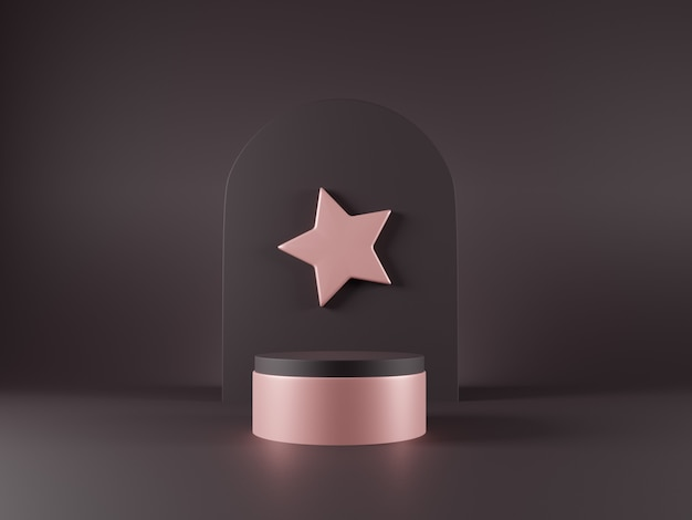 ピンクの表彰台と星の3 dミニマルなデザインシーン。