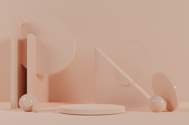 クリーム色の台座と3 dの抽象的な幾何学的なシーン。