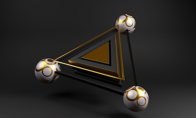 球と3 dの抽象的な幾何学的な三角形