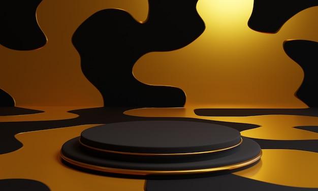 金色の背景に3 dの黒い表彰台