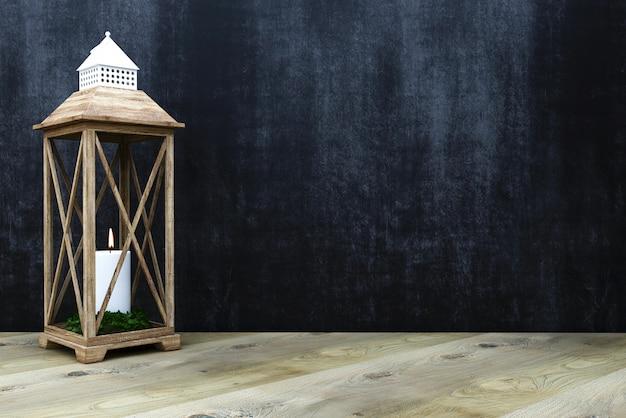 3 dのレンダリング。チョークの壁の壁に木製の床板またはタブレット。