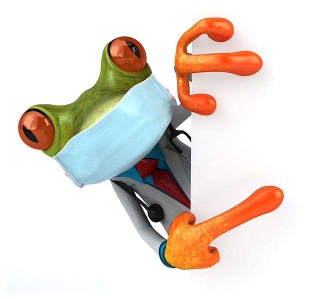 マスクをしたカエルの3 dイラストレーション