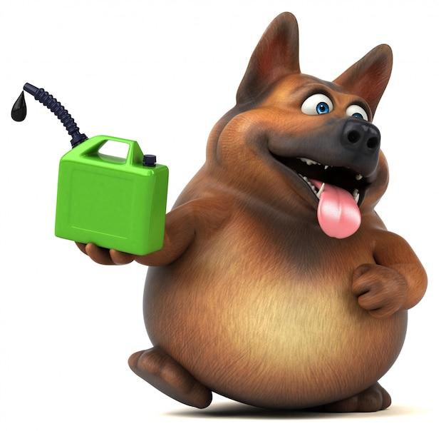 楽しいジャーマン・シェパード犬3 dイラストレーション