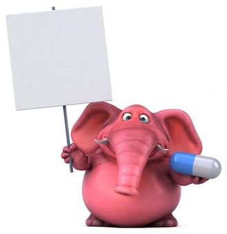ピンクの象-3 dイラストレーション