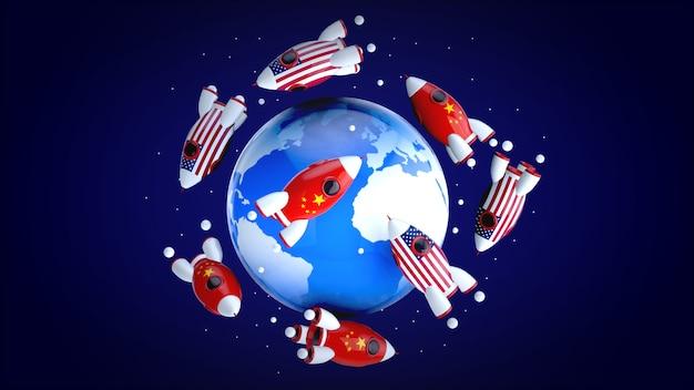 世界中のロケット-3 dイラストレーション