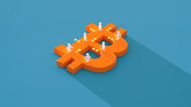 お金やビットコイン-3 dイラストレーション