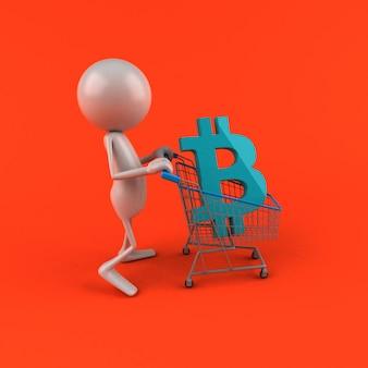 ビットコインショッピング-3 dイラストレーション