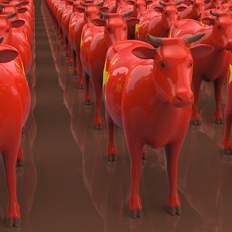 牛のコンセプト-3 dイラストレーション