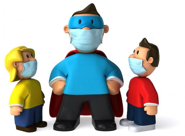 マスクを持つスーパーお父さんの3 dイラストレーション