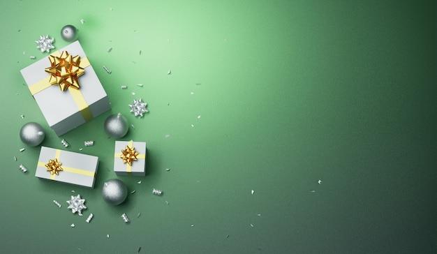 メリークリスマスのグリーティングカードの背景にギフト、雪、3 dのレンダリング