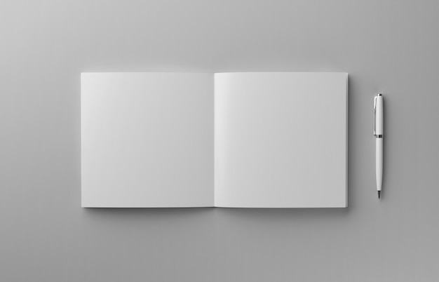 明るい灰色の背景、3 dイラストレーション上にペンで空白の写実的なパンフレット。