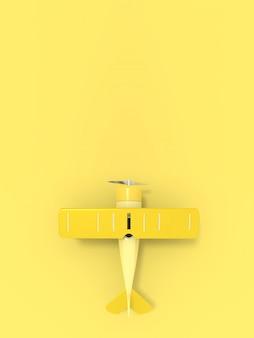 テキスト、垂直方向、3 dレンダリングのための空の場所でおもちゃのヴィンテージ航空機イラスト