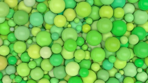 バリエーション豊富なグリーンボール。 3 dのレンダリング。