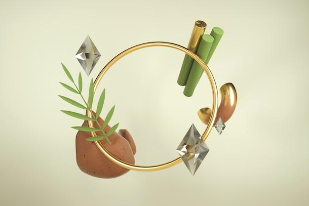 フレーム付きの創造的な3 dレンダリング。形状と素材のモダンな構成。素朴な色。