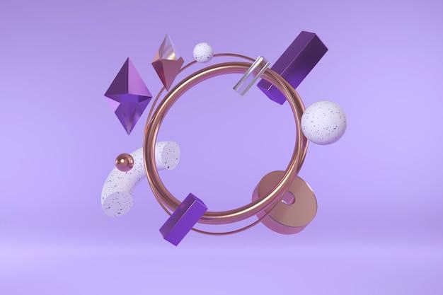 幾何学的形状の3 dレンダリング。シンプルな形の現代の抽象的な構成。
