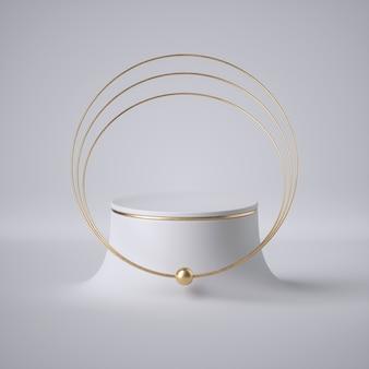 3 dレンダリング、抽象的な白い背景、モダンなミニマルコンセプト、すっきりとしたスタイル。黄金色の宝石:リング、チョーカー、襟。空のシリンダー演壇、空の台座、ショーケース、製品展示、未来的なプラットフォーム