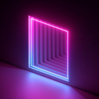 3 dレンダリング、抽象的なネオンの背景、ピンクブルーバイオレットライト、壁に正方形の穴。紫外線。窓、ドアを開け、門、門。廊下、トンネル入り口。劇的なシーン。モダンなミニマルコンセプト