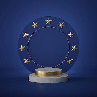 3 dのレンダリング。空白の丸いボード、コピースペース、コンクリートシリンダーの手順、空の表彰台、空の台座。ヨーロッパの賞のエンブレム。金色の星。
