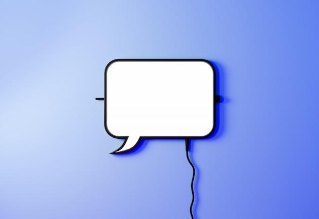 スピーチ風船バブルは明るい青の背景にサインオンします。通信の概念。チャットアイコン3 dレンダリング