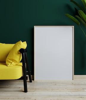 黄色のソファのあるホームインテリアのモックアップと緑のリビングルームの植物、3 dレンダリング