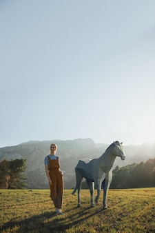イラストの3 dの馬を持つ女性