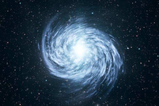 宇宙の3 dイラストレーションで星と渦巻銀河を回転