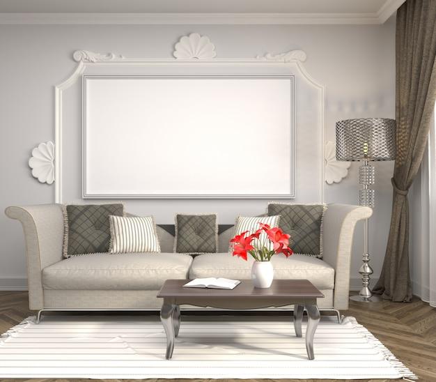 ソファ付きのモダンなリビングルームの3 dレンダリング