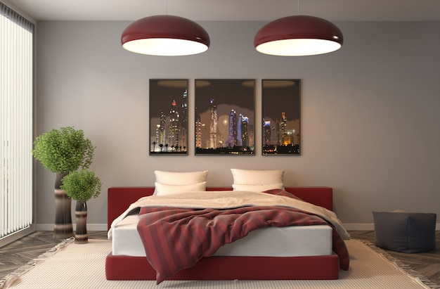 モダンなベッドルームの3 dレンダリング