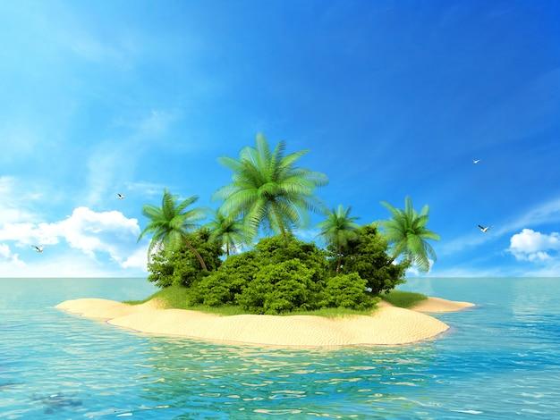 熱帯の島の3 dレンダリングされた図